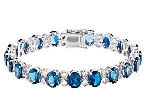 London Blue Topaz Rhodium Over Sterling Silver Bracelet  25.84ctw