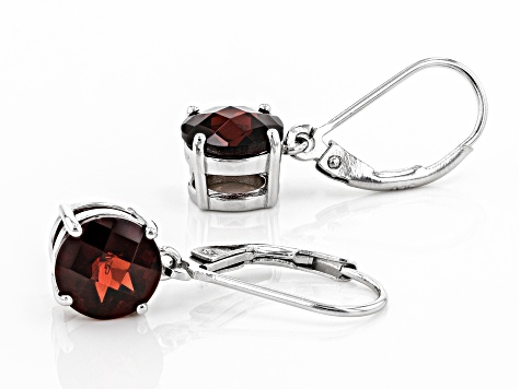 Red Garnet Rhodium Over Sterling Silver Earrings 4.75ctw