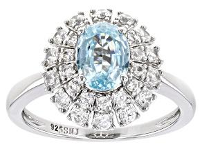 Blue Zircon Rhodium Over Sterling Silver Ring 2.90ctw