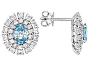 Blue Zircon Rhodium Over Sterling Silver Earrings 4.00ctw