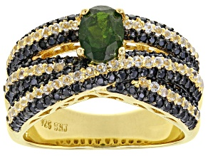 Green Russian Chrome Diopside 18K Yellow Gold Over Sterling Silver Ring 2.58ctw