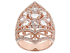 Peach Morganite 18K Rose Gold Over Sterling Silver Ring 5.70ctw