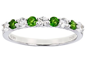 Chrome Diopside Rhodium Over Sterling Silver Band Ring 0.75ctw