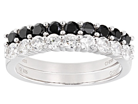 Black Spinel Rhodium Over Sterling Silver Band Ring 1.60ctw