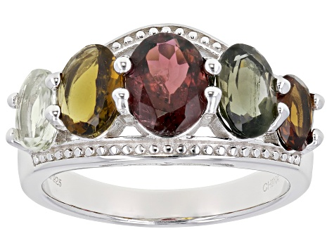 Multi-color Tourmaline Rhodium Over Sterling Silver Band Ring 3.56ctw