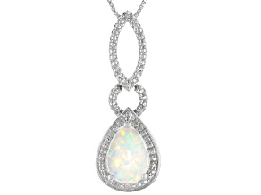 White Lab Created Opal Rhodium Over Sterling Silver Pendant With Chain 1.01ctw