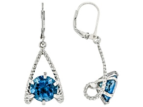 London Blue Topaz Rhodium Over Sterling Silver Earrings 8.00ctw