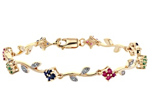 Round Multi-Stone 18K Yellow Gold Over Sterling Silver Bracelet 1.30ctw