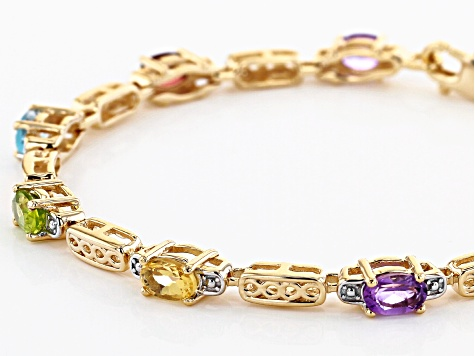 Oval Multi-Stone 18K Yellow Gold Over Sterling Silver Bracelet 2.81ctw