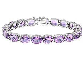 Pink Amethyst Rhodium Over Sterling Silver Tennis Bracelet 30.4ctw