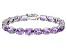 Pink Amethyst Rhodium Over Sterling Silver Tennis Bracelet 30.4ctw