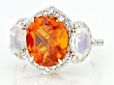 Orange Lab Created Sapphire Rhodium Over Sterling Silver Ring 6.35ctw