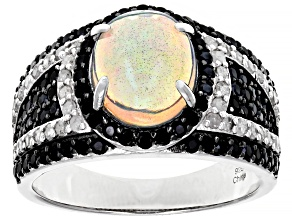 Ethiopian Opal Rhodium Over Sterling Silver Ring 2.25ctw