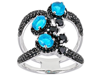 Picture of Blue Ethiopian Opal Rhodium Over Sterling Silver Ring 1.55ctw