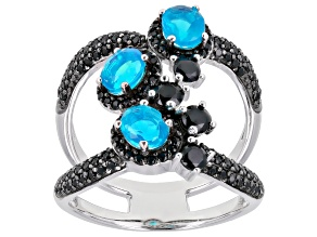 Paraiba Blue Color Opal Rhodium Over Sterling Silver Ring 1.55ctw