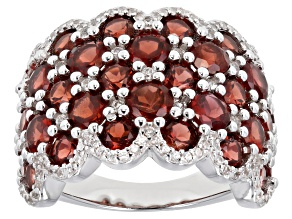 Red Garnet Rhodium Over Sterling Silver Ring 8.35ctw