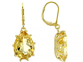 Citrine 18k Yellow Gold Over Sterling Silver Dangle Earrings 14ctw