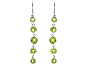 Peridot Rhodium Over Sterling Silver Dangle Earrings 7.80ctw