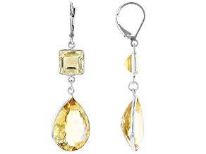 Citrine Rhodium Over Sterling Silver Dangle Earrings 22.60ctw