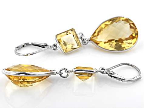 Citrine Rhodium Over Sterling Silver Dangle Earrings 22.6ctw