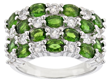 Picture of Chrome Diopside Rhodium Over Silver Ring 3.35ctw