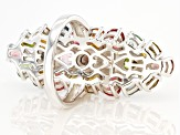 Multi-Tourmaline Rhodium Over Sterling Silver Ring 6.55ctw