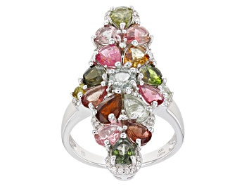 Picture of Multi-Tourmaline Rhodium Over Sterling Silver Ring 2.95ctw