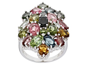 Multi-Tourmaline Rhodium Over Sterling Silver Ring 7.45ctw