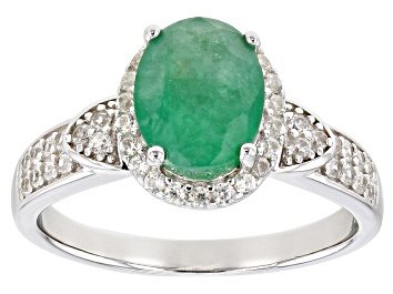 Picture of Emerald Rhodium Over Sterling Silver Ring 1.80ctw