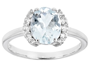 Aquamarine Rhodium Over Sterling Silver Ring 1.74ctw