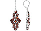 Red Garnet Rhodium Over Sterling Silver Earrings 7.95ctw