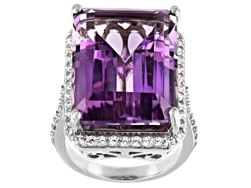 Picture of Amethyst Rhodium Over Sterling Silver Ring 20.15ctw