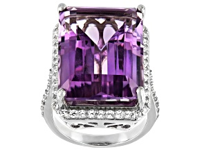 Amethyst Rhodium Over Sterling Silver Ring 20.15ctw