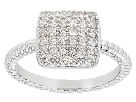White Zircon Rhodium Over Sterling Silver Ring 0.7ctw