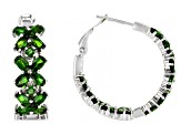 Chrome Diopside Rhodium Over Sterling Silver Earrings 6.05ctw