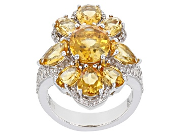 Picture of Citrine Rhodium Over Sterling Silver Ring 6.40ctw