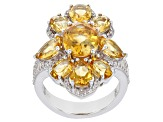 Citrine Rhodium Over Sterling Silver Ring 6.40ctw