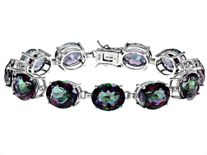 Multi-Color Quartz Rhodium Over Sterling Silver Tennis Bracelet  45ctw