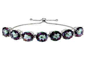 Multi-Color Quartz Rhodium Over Sterling Silver Bolo Bracelet 27.5ctw