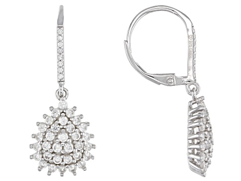 White Zircon Rhodium Over Sterling Silver Dangle Earrings 1.73ctw