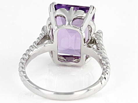 Emerald  Cut Amethyst Rhodium Over Sterling Silver Ring 6.8ctw