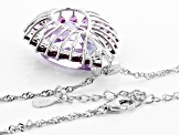 Amethyst  Sterling Silver Pendant W/Chain 20.57ctw