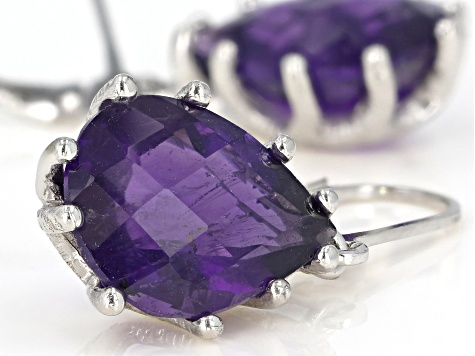 Purple African Amethyst Rhodium Over Sterling Silver Dangle Earrings 13.50ctw