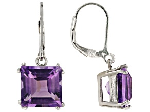 Purple African Amethyst Rhodium Over Sterling Silver Dangle Earrings 9.25ctw