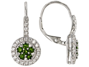 Chrome Diopside  Rhodium Over Sterling Silver Earrings 1.65ctw