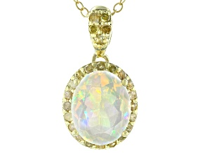 Ethiopian Opal 18k Yellow Gold Over Sterling Silver Pendant W/Chain 1.45ctw