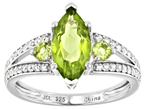 Peridot Rhodium Over Sterling Silver Ring 2.02ctw