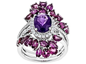 African Amethyst Rhodium Over Sterling Silver Ring W/ Guard 5.58ctw