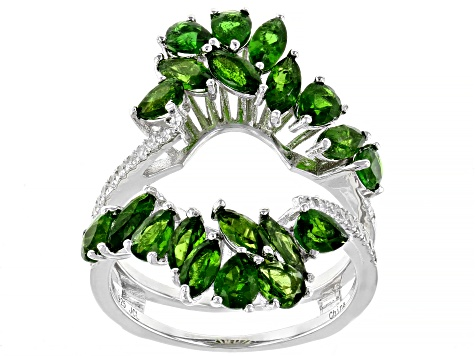 Prasiolite Rhodium Over Sterling Silver Ring W/ Guard 5.13ctw