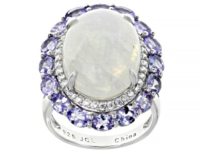 White Rainbow Moonstone Rhodium Over Sterling Silver Ring  4.03ctw